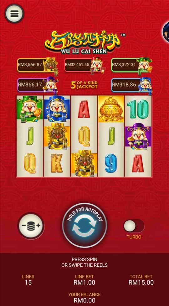 Review of Wu Lu Cai Shen Slot Game in Rollex Casino Malaysia 2020