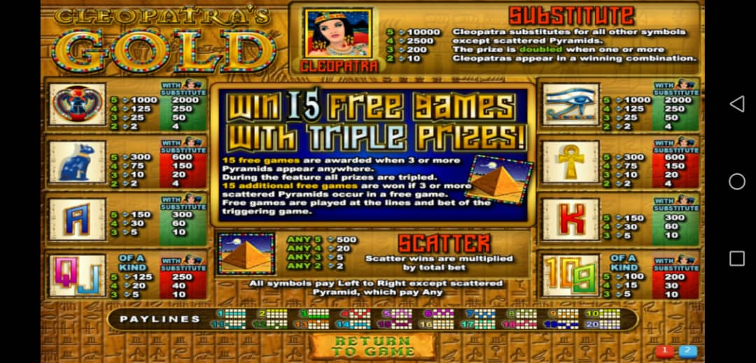 Learn To Play Cleopatra's Gold Classic Slot in XE 88 Free Login