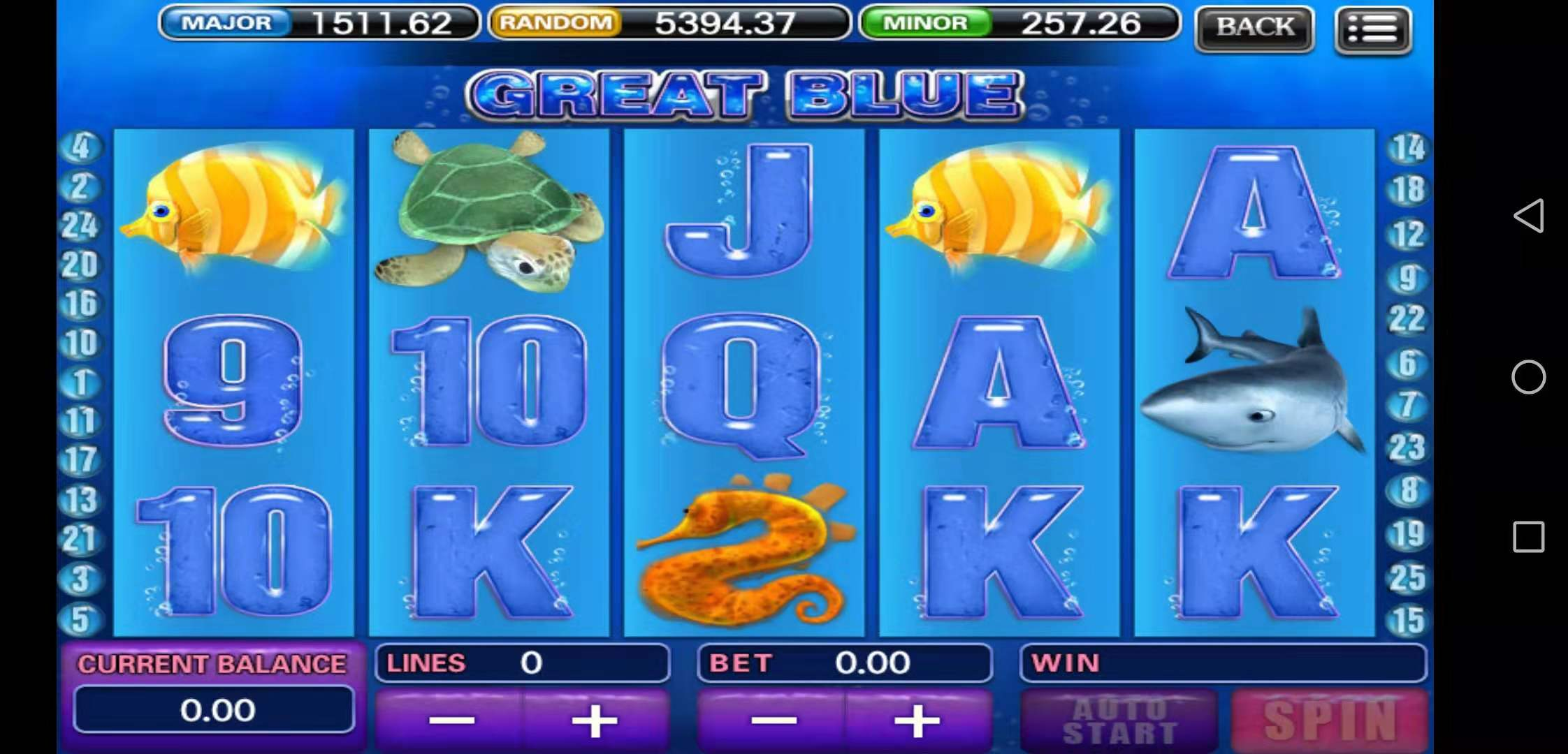 Great Blue Slot Table User Interface