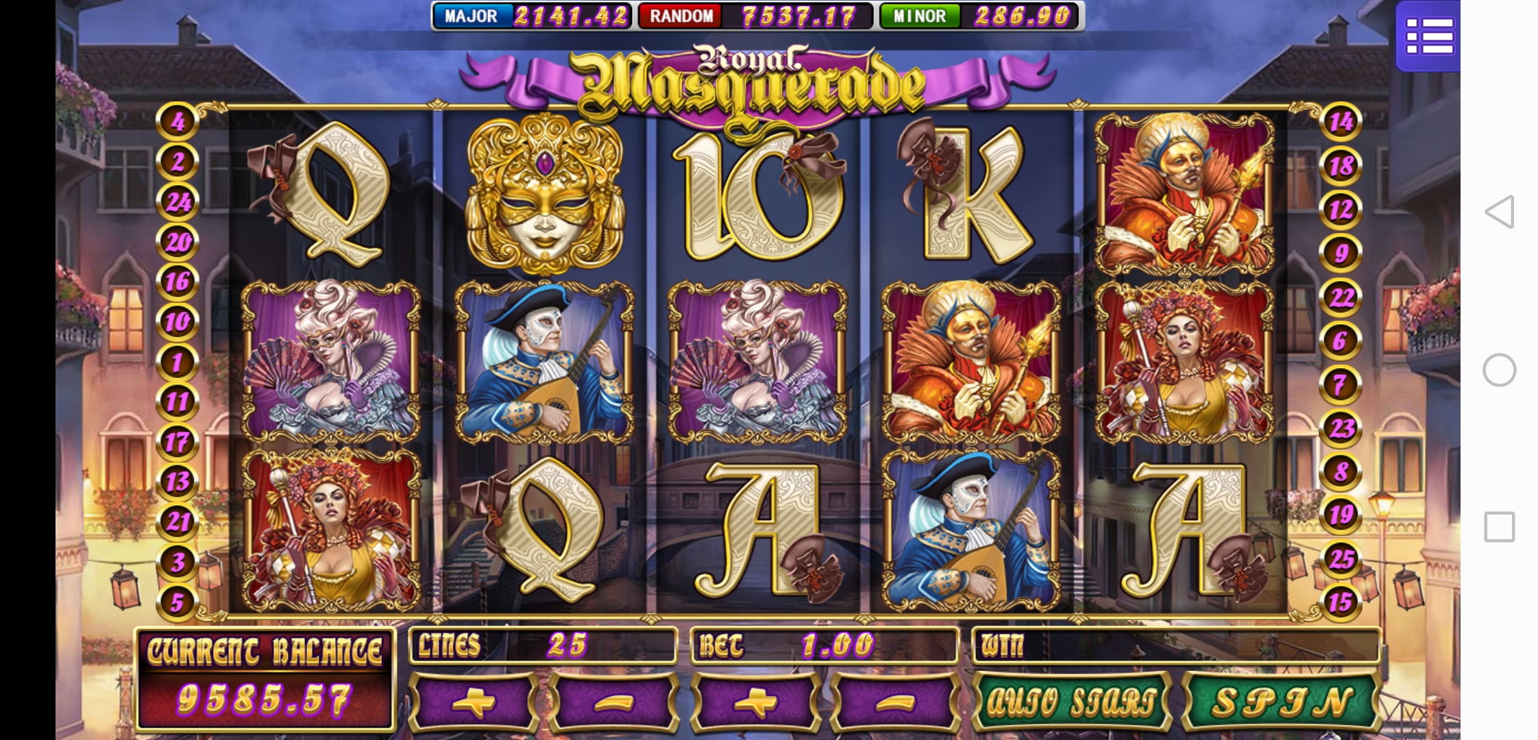 Gameplay of Royal Masquerade Online Slot in Mega888 Online Casino