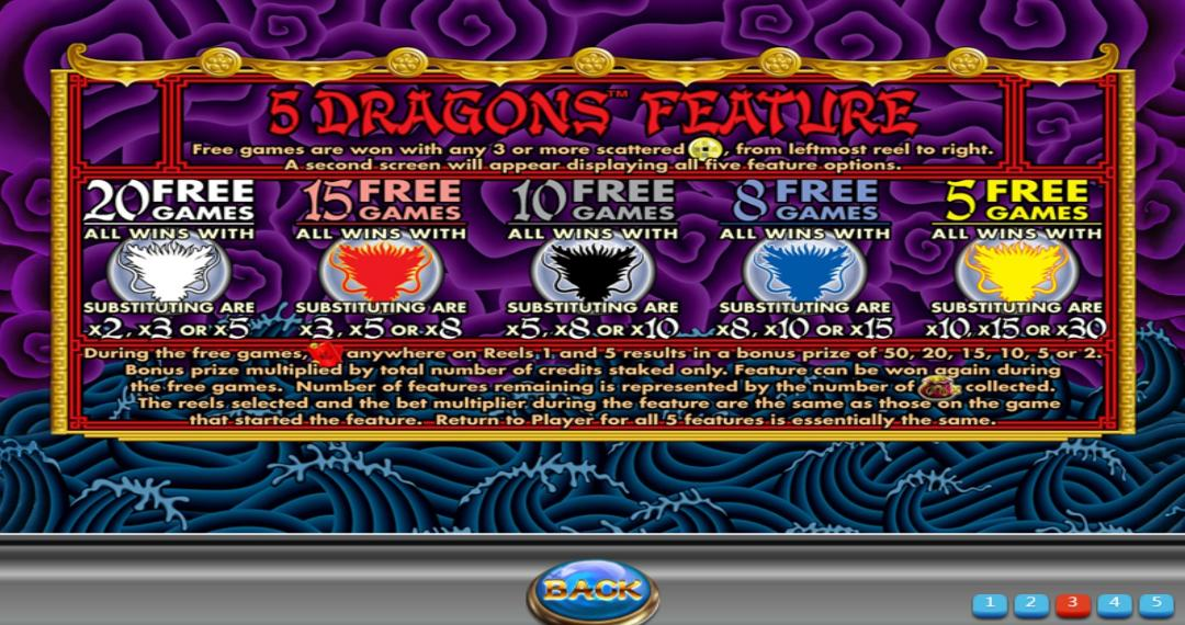 5 Dragons Features