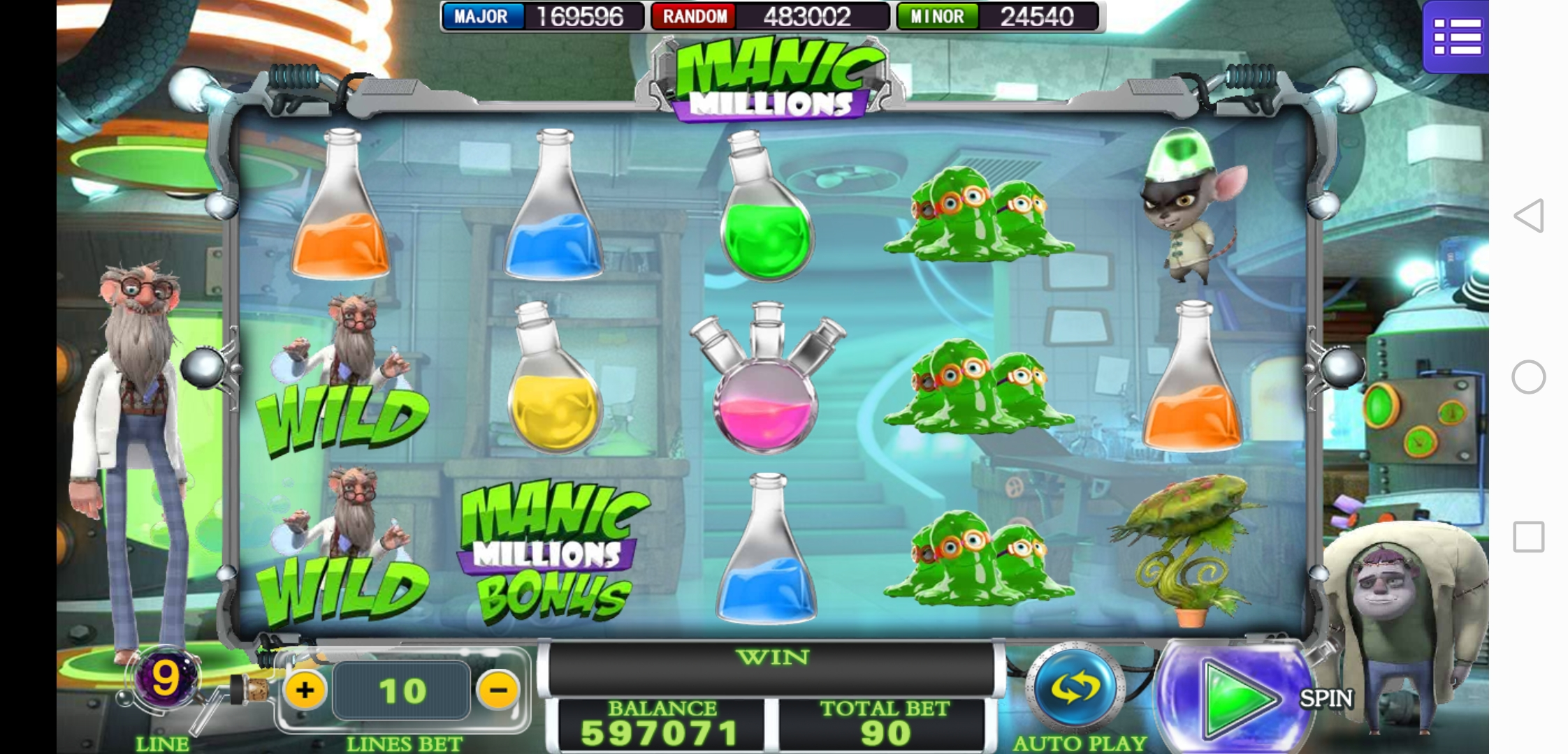 Manic Millions User Interface