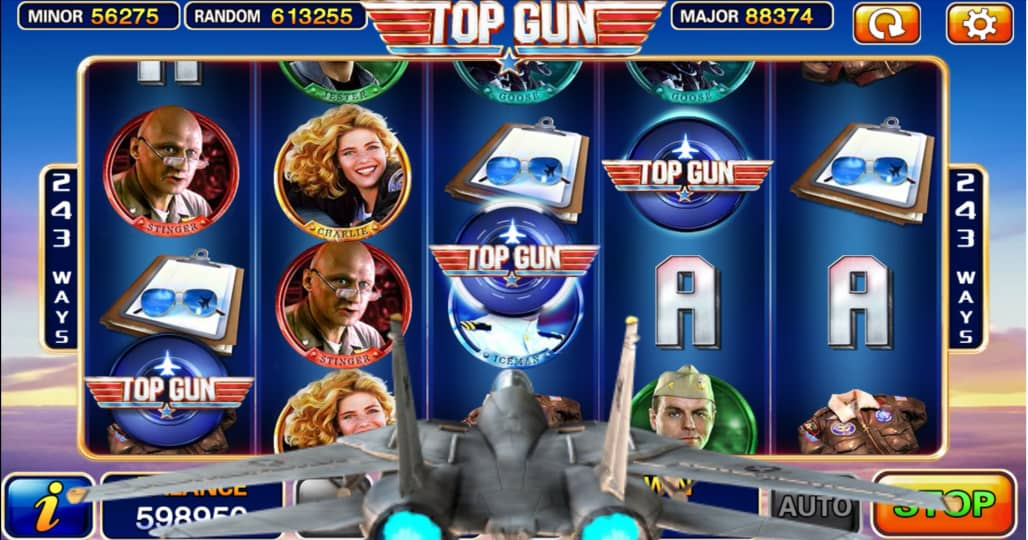 Top Gun Slots User Interface