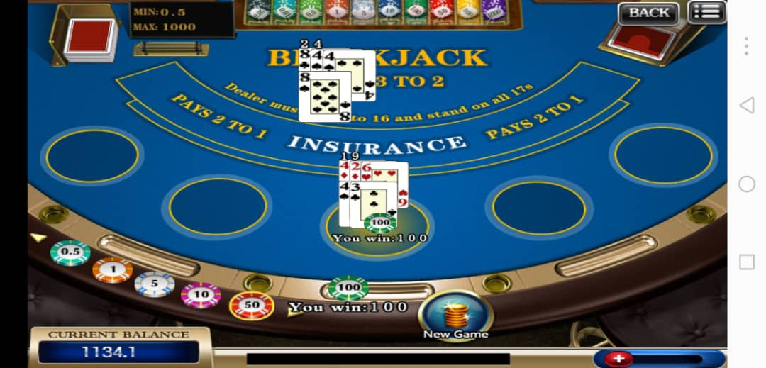 Blackjack 21 Table Player interface